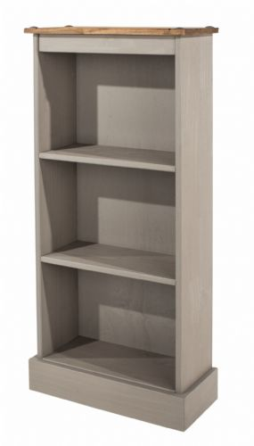 Premium Corona Grey Wash Low Narrow Bookcase